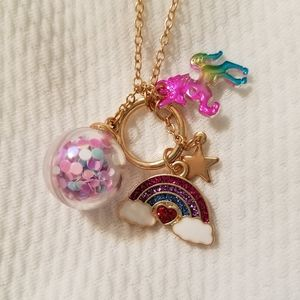 Rainbow unicorn charm necklace.